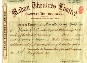Madan Theatres share certificate