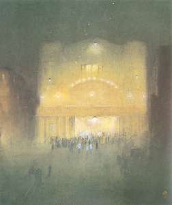 """Madan Theatre by Night"" by Gaganendranath Tagore. Held at National Gallery of Modern Art, New Delhi. Image Courtesy: NGMA"