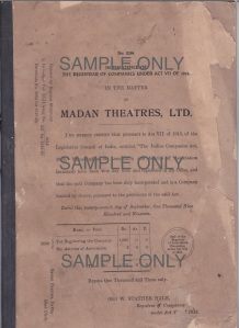 Madan Theatres - Registrar of Companies. Image Courtesy: Gool Madan Ardeshir. All Rights Reserved