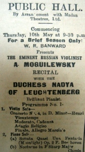 Public Hall (later Empire Theatre) newspaper advert. Image Courtesy: Dr Vilasnee Tampoe-Hautin